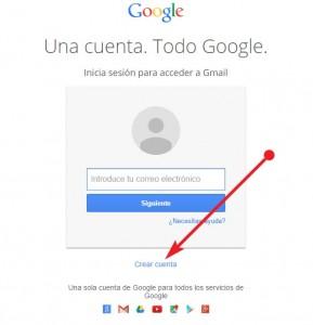 Gmail correo - crear cuenta